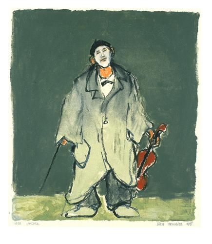 Ellen Meuwese, Clown met viool, Gemengde techniek, 1988